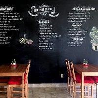 drink menu wall with amzing handwriting