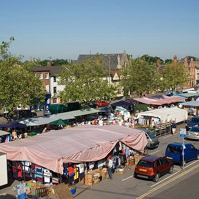 Aerial view of Thame weekly market by Nick White