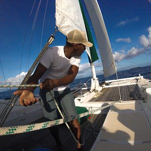 Captain and voyager Seta sailing Fiji.