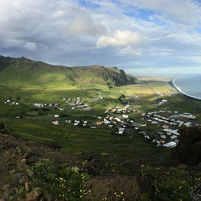 View from the top of the cliff overlooking Vik