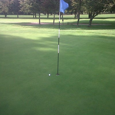 Almost a hole in one on the 4th hole!