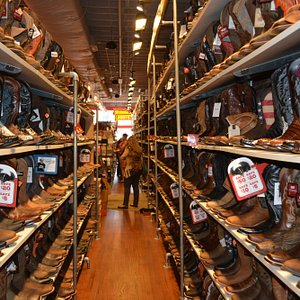 Inside the Barn boot store in downtown Nashville