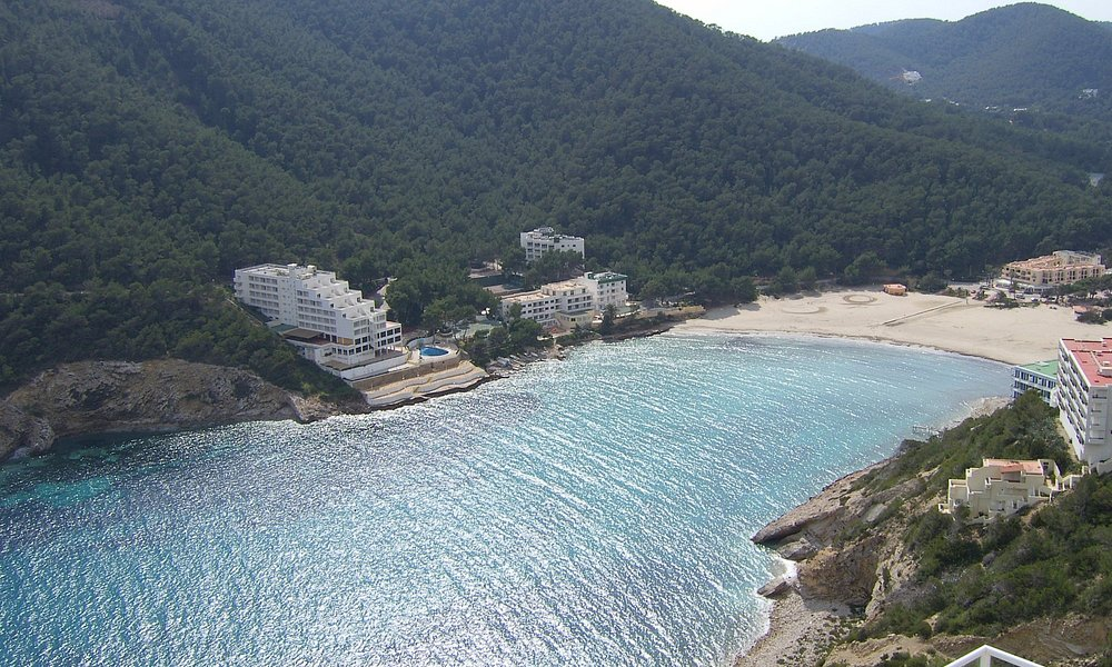 view from moutain above cala Llonga bay