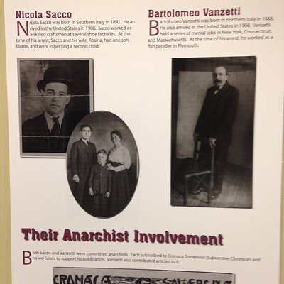 Sacco and Vanzetti exhibit poster at John Adams Courthouse