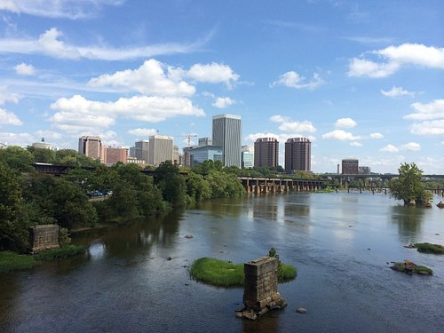 a great view of the skyline from the pedestrian bridge