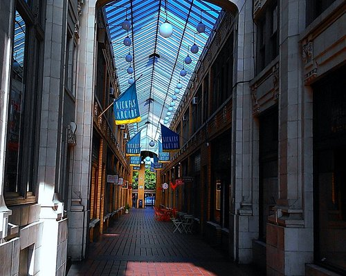 Arcade looking from State Street entrance in morning