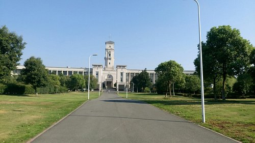 The clock tower of Trent Building on a sunny day