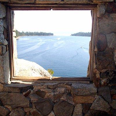 View from Fannette Island Tea House in Emerald Bay, Lake Tahoe