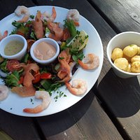 The Salmon and prawn salad