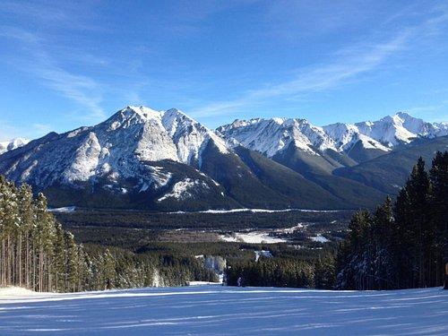 Sunshine Village Ski Hill - View down Banff Ave.