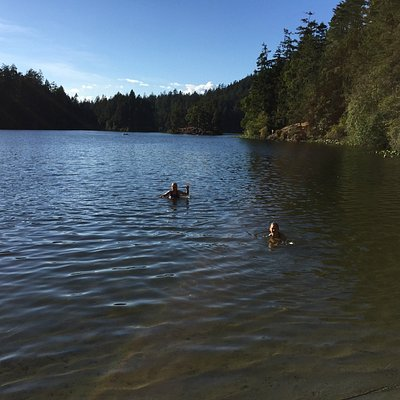 Lake swimming from the small beach