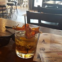 To kill a ladybird cocktail.  Root beer Bourbon and candied bacon!  Can't go wrong