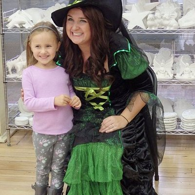 I painted plaster with Wanda the Witch at Brush It Off in Sturbridge MA