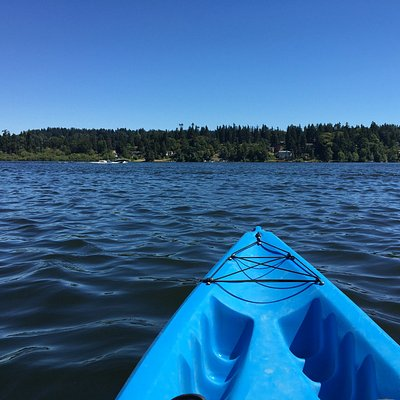 View of the east shoreline from the middle of Lake Washington,