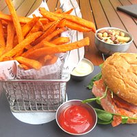 Salmon Burger and Sweet Potatoe Fries, The Mallard Lounge and Terrace, Fairmont Chateau, Whistle