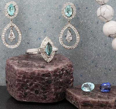 Blue tourmaline bridal collection