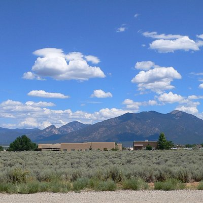 Beautiful Taos Mountain as seen from our front door.