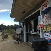 2016: Umbrella and chair rental available. Snack shack in dune at the end of Park Ave. Portable
