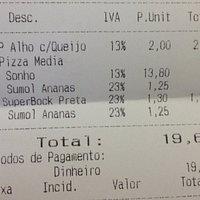Conta de jantar com piza média que dá para duas pessoas com entrada e três bebidas.
