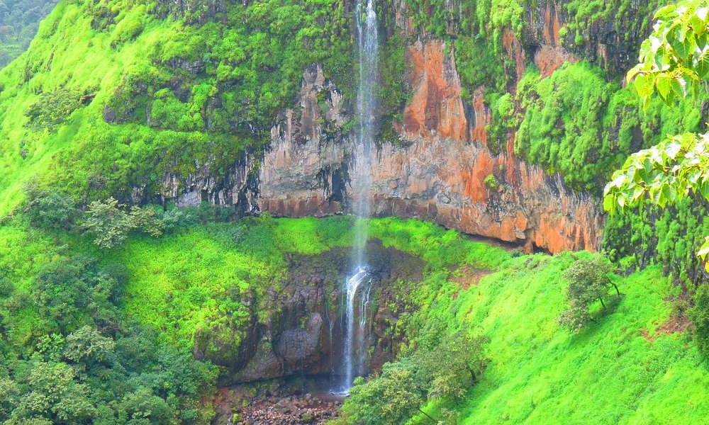 View of small waterfall