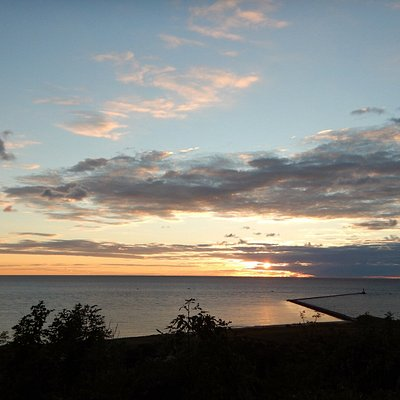 Overlooking the Frankfort beach/lghthouses