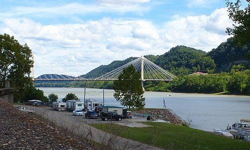 A view of the Ohio River near the murals.
