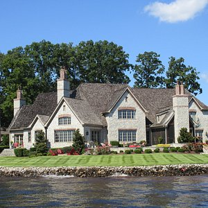 Checking out the dream houses on the lake!