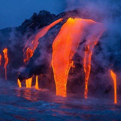 lava entering ocean