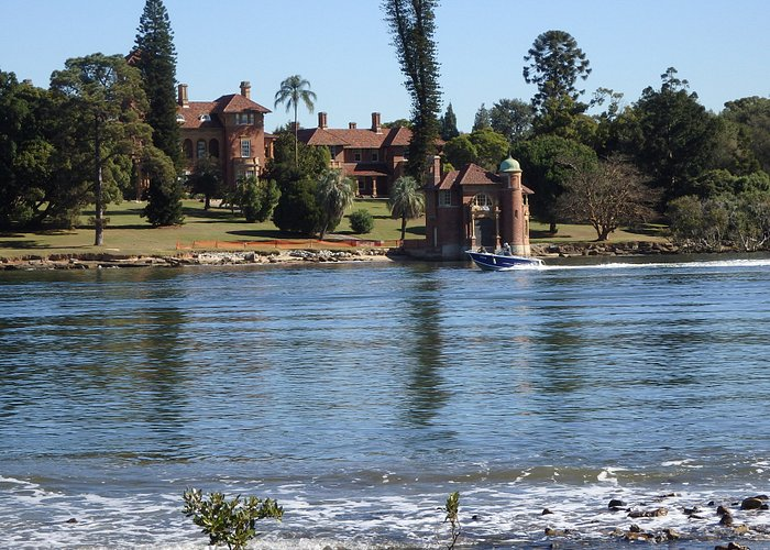 River view. Dame Edith Walker's house across the river.