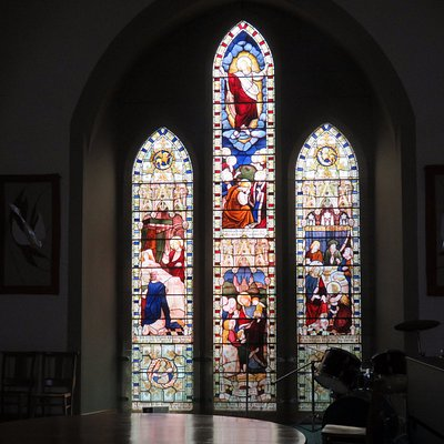 modern church drum with kit to the right of the windows