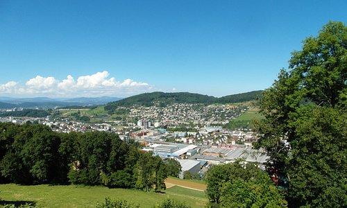 the town of Liestal below