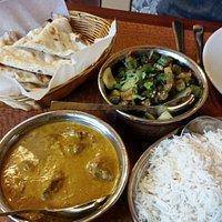 Naan, Lamb Korma, Bhindi Masala, Rice (L to R)