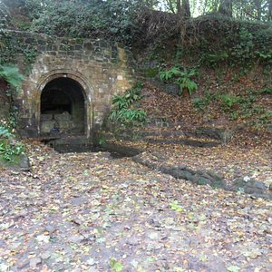 A Roman Bath in the woods was constructed for Wastel Brisco,wealthy resident of Bohemia Mansion.
