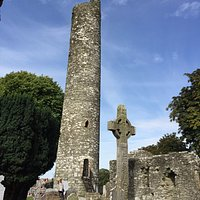 Irish cross and tower at Monasterboice