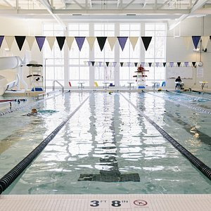 25 yard, 6 lane Indoor Competitive Pool with Rec Pool and Waterslide