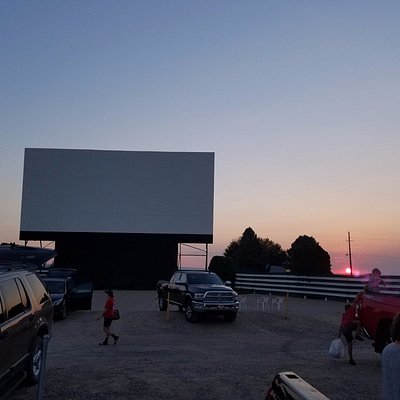 Getting ready for the nights feature movie, withe a beautiful sunset in the background