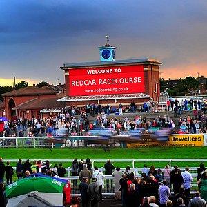 Setting sun over Redcar Racecourse