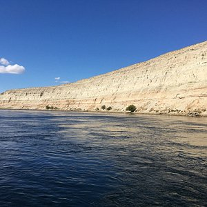 View of the White Bluffs in the Hanford Reach from the boat