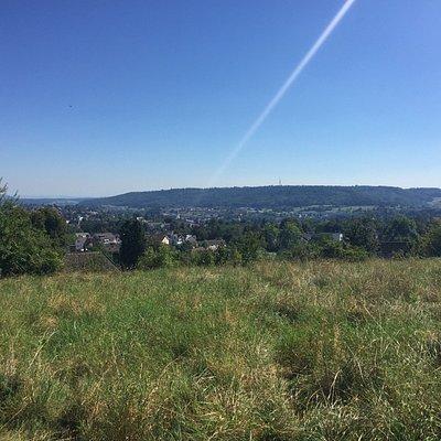 DAS Panorama Schaffhausens bietet sich beim Geheimtipp Säckelamtshüsli auf der Breite: eine Fern