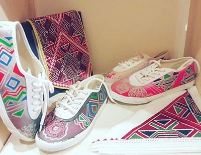 Croatian shoe brand Startas covered in Vogue magazine - we handpainted them with Konavle embroid