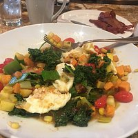 They call it vegetable hash but it's more of a stew with eggs.