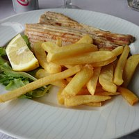 Trout from the grill with fries