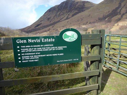 Glen Nevis Estate sign mentions Braveheart but not HL
