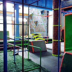 Climbing wall, sponge pit, bars, inflatables and more!
