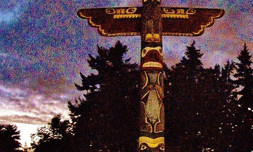 Totem Pole in the back of the Parking lot
