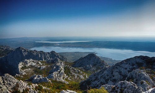 View from the mountains to the Velebit sea