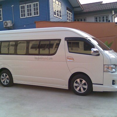Toyota Commuter van. Can fit 10 passengers + luggage or 12-13 without luggage