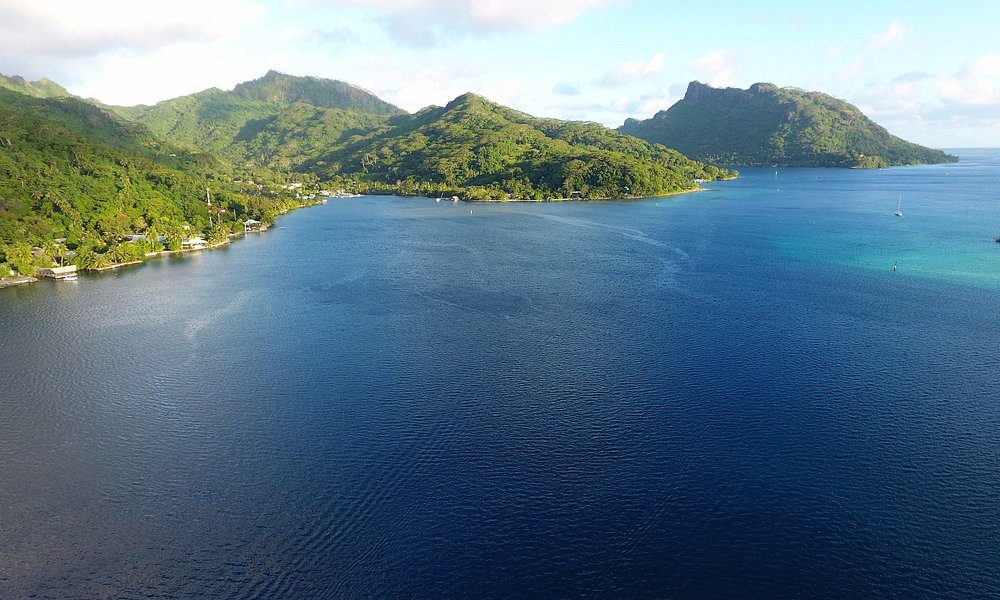 A drone view of Fare and Avapehi Bay