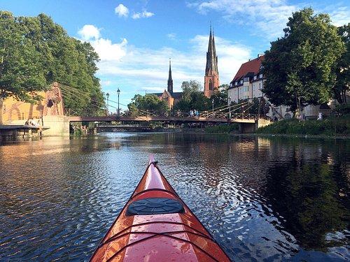 Arriving by kayak to Uppsala on the river Fyrisån