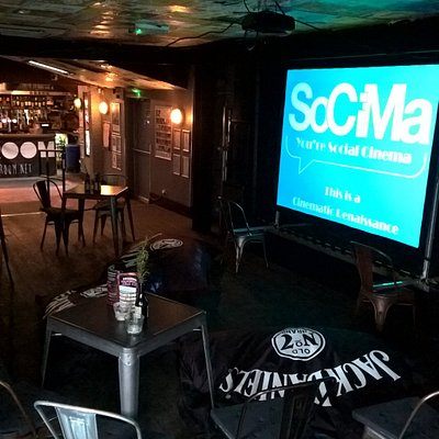 SoCiMa Setup, Projector on stage and every chills one chairs & bean bags